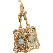 14 K Opal Filigree Leverback Earrings