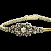 SALE Early French 14 K/Sterling Silver Rose Cut Diamond Bracelet