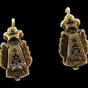 SALE 9 K Rose Gold Enamel Earrings