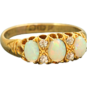 SALE 18 K 1902 Triple Opal and Diamond Ring