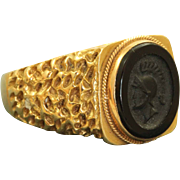 Estate 18 K Onyx Intaglio Roman Soldier Ring