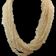 Estate 10 Strand Rose Quartz Necklace