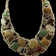 """Estate 24"""" Sterling Adjustable Multi-Gemstone Bib Necklace"""