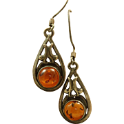 Estate Sterling Baltic Sea Amber Dangle Earrings