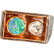 Estate 14 K Scandinavian Modernist 0.85 CT Rose Cut Diamond Opal Ring