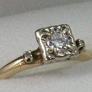 14K Two-Toned Gold Art Deco Diamond Ring