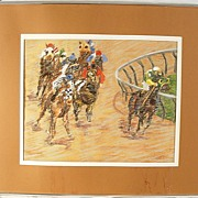 SALE 70'S Signed Pastel Art Of Horse Race Churchill Downs