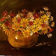 Antique Oil On Canvas Still Life Vase Of Daisies Painting Signed By T.V. Beneville