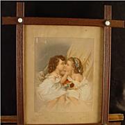 SALE Antique Print With Victorian Porcelain Button Frame