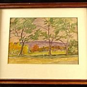 Vintage Watercolor Impressionist Painting by Vermont Artist