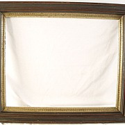 SALE Antique Walnut Picture Frame With Inner Stenciled Cove