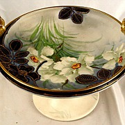 SALE Antique Compote With Makers Mark Hand Painted and Signed