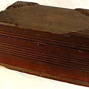 SALE Antique Wooden Document Box  With Working Slide Clasp