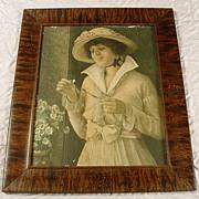 SALE Antique Grain Painted Picture Frame & Victorian Print
