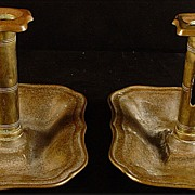 SALE Antique Pair of Matching 19TH Century Brass Pushup Chamber Sticks