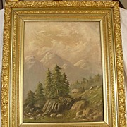 SALE Lovely Antique Oil on Canvas Scenic Painting With Beautiful Frame