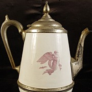 SALE Antique Pearl Agateware Coffee Pot with Angel Design