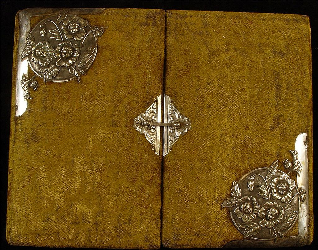 Antique Victorian Photo Album Front Clasp & Silver Plated Metal Adornments of Flowers With Cherub Faces Design