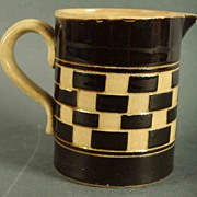 SALE Antique Mochaware Checkerboard Pattern Pitcher
