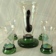 SALE Vintage Iridescent Pitcher With  4 Matching Glasses -Unusual Design