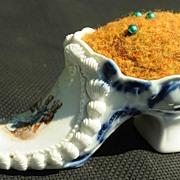 SALE Cute Porcelain High Heel Shoe Pin Cushion With Mark On Bottom & Original Insert