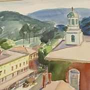 Watercolor of Peterborough, NH By Listed Artist Charlotte Blass (1908-1981)