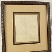 SALE Lovely Antique Hand Written Signed Poem Framed And Matted