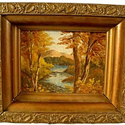 SALE Nice Antique Oil on Board Autumn in Vermont With Gesso Frame