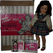 """SALE Ideal P92 1949 19"""" Toni doll Box with extras"""
