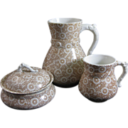 Aesthetic Brown Transferware Pitcher, Covered Soap Dish & Mug 1880s