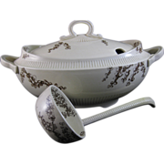 Large Victorian Brown Transferware Soup Tureen w/ Original Ladle 1886