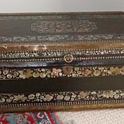 Camphor wood chest. Paint decorated camphor wood chest.