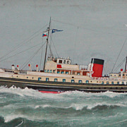 Painting of a steamship...Steamship painting....Watercolor.....