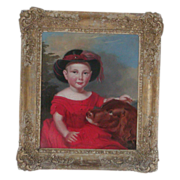 Painting of girl and dog...Antique oil painting of a dog and girl...
