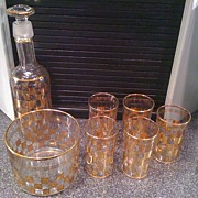 SOLD Set of Glass Barware with gold trim