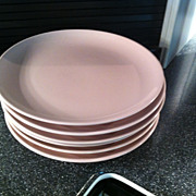 SOLD Set of 6 Pink Iroquois Dinner Plates by Russel Wright