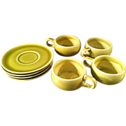 SOLD Set of Four American Modern Chartreuse Russel Wright Coffee Cups and Saucers