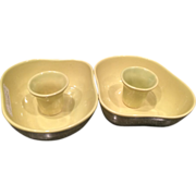 SOLD Pair of Avocado Tamac Candlestick Holders