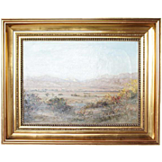 SOLD A. BARCLAY Oil on Canvas Painting, Mountain Western Landscape Dated 1898