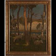 CHARLES WILLIAM BARTLETT, Oil Painting on Canvas, Sheep Grazing Near Chalk Cliffs