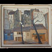 RENAL BACHE Oil on Canvas Painting, Rue Saint-André-des-Arts, Paris
