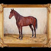 SOLD ALEXANDER LANGLET Oil on Canvas Painting, Horse Portrait of Pandora