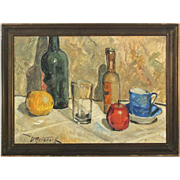 SOLD VICTOR QVISTORFF Oil on Canvas Painting, Still Life