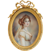 Signed French Miniature Portrait of an Empire Lady