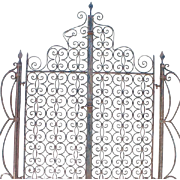 Pair Antique Hand Forged Spanish Wrought Iron Garden Gates