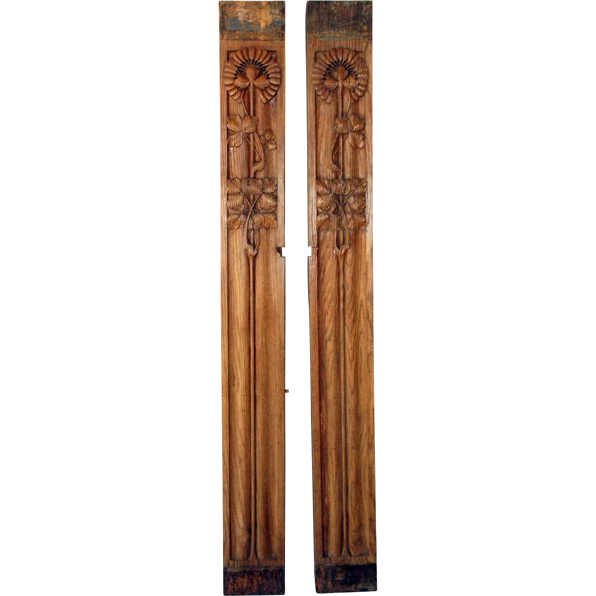 Wonderful image of Pair of Art Nouveau Carved Wood Architectural Panels from rubylane  with #734125 color and 1213x1213 pixels