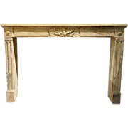French Louis XVI Period Limestone Fireplace Surround