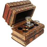 French Book-Form Decanter Set with Music Box