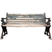 SOLD English Victorian Cast Iron and Painted Wood Garden Bench
