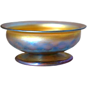 "American Tiffany Studios Art Glass 6 1/2 "" Footed Bowl"